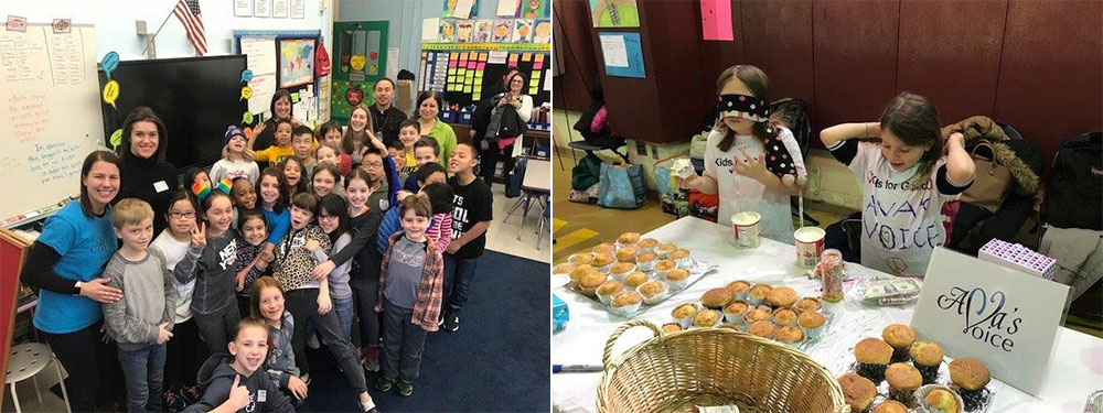 Class of students group photo and student bake sale simulating visual impairment