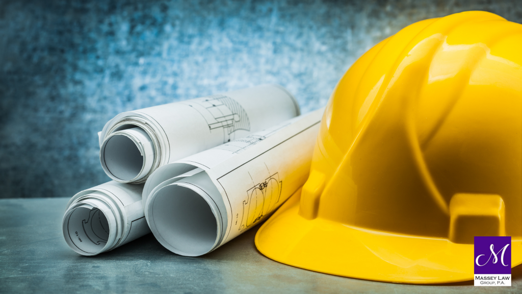 Construction plans and hard hat construction law